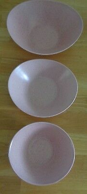 VERNON'S Tickled Pink 3 vintage nesting bowls speckled USA MCM cereal vegetables