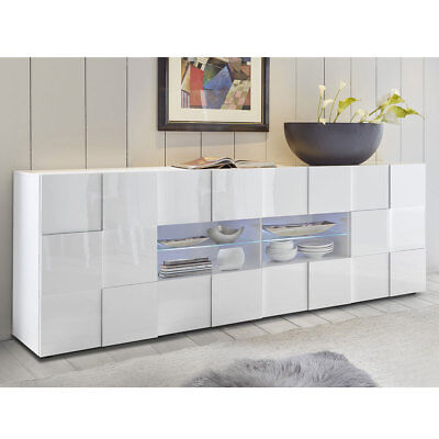 sideboard dama 3 schrank anrichte kommode 241 cm in wei lack wohnzimmer eur 388 95 picclick de. Black Bedroom Furniture Sets. Home Design Ideas