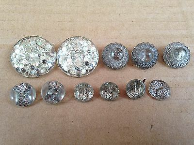 Mixed Lot Of 11 Antique Clear Glass Sewing Buttons With Gold Painted Backs