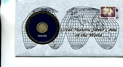 Malaya  1939 .10 Silver Coin And Stamp Cover Vf 2726J