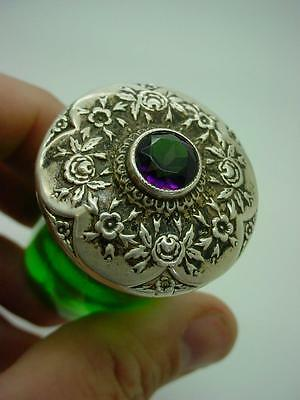 Antique Green Glass Bottle Jar with Sterling Silver Lid Set with Amethyst Stone