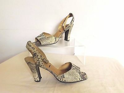 Vintage 80s  ~ Real Snakeskin Shoes w Ankle Straps ~ Disco Pin Up 6