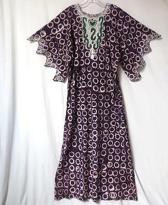 Vtg Tunic Batik Dress w/ embroidered neck Moroccan Kaftan Caftan Boho Hippie