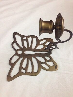 Single Vintage Brass Butterfly Wall Decor Sconce Tapered Candle Holder