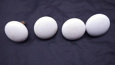 "Set of 4 Antique Vintage White Porcelain  Glass Door Knobs 2 1/8"" Dia."