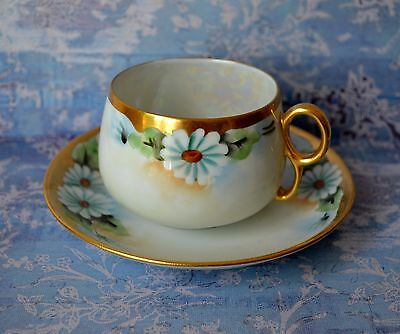 DAISIES - TEA CUP SAUCER, TEACUP SET, Hand painted, bone china , Japan