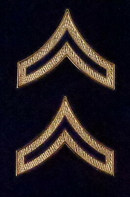 PVT Private Chevrons BLUE ENAMEL/Gold Pair Collar Pins Rank Insignia police