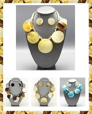 Tortoise Round Circle Pendant Charm Chunky Statement Necklace African Resin SET
