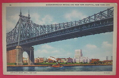 Vtg Queensborough Bridge And New York Hospital Postcard-New York City Ny