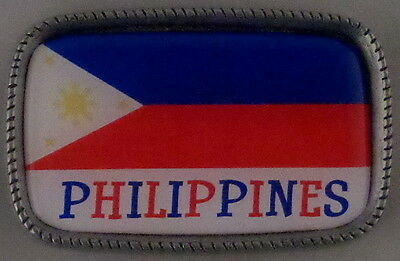 PHILIPPINES FLAG Antique Silver Belt Buckle USA MADE Filipino