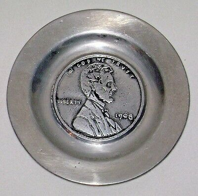 Vintage Aluminum Trinket Change Tray 1908 Lincoln Penny by Pewtarex