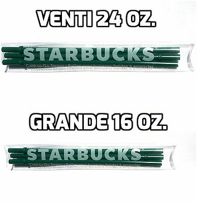 STARBUCKS Straws 6 pack Venti & Grande 24oz/16oz Green Cold-to-Go Authentic NEW