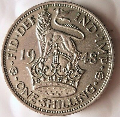 1948 GREAT BRITAIN SHILLING - English Crest - FREE SHIP - Shilling Bin A