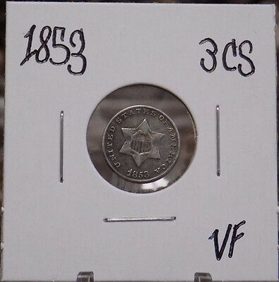 1853 Silver 3 Cent Piece Very-Fine Condition - 1853 3CS VF - US Three Cent Coin