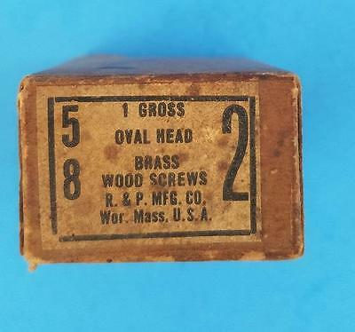 "130 Vintage #2 -- 5/8"" Oval Head Brass Wood Screws Slotted NOS Box"