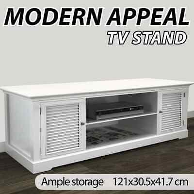 New White TV Stand Home Entertainment Unit Wooden Cabinet Storage Table Console