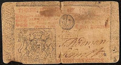 April 8, 1762 New Jersey Colonial Currency 3 Pound Note Old Paper Money Vf