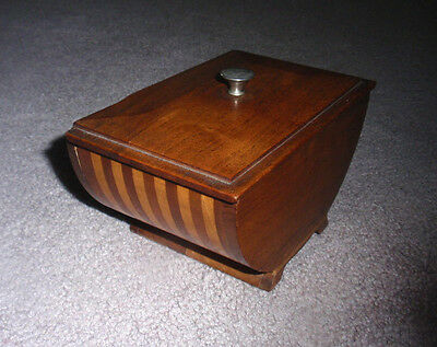 Unusual Small Mid Century Modern Wood Footed Box w/ Lid Marquetry Round Bottom