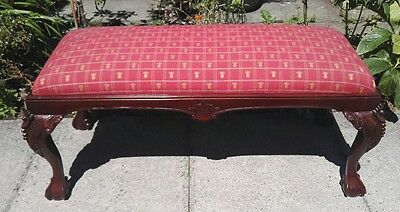 Antique style Chippendale mahogany window seat bench or duo piano stool