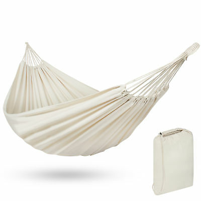 Portable Cotton Double Hammock Bed 2 Person Patio Camping W/ Carrying Bag