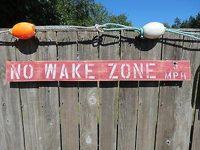 48 Inch Wood Hand Painted No Wake Zone 5Mph Sign Nautical Seafood (#s792)