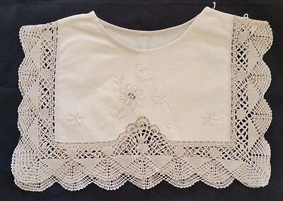 Vintage Ivory Embroidered Floral Crochet Lace Dress Collar
