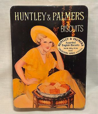 Vtg Collectible Cookie Tin HUNTLEY & PALMERS BISCUITS 60s Sell By Date 11/1969