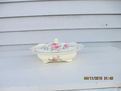 Vintage Taylor Smith & Taylor Covered Serving Dish Pink Orchids or Iris Pattern