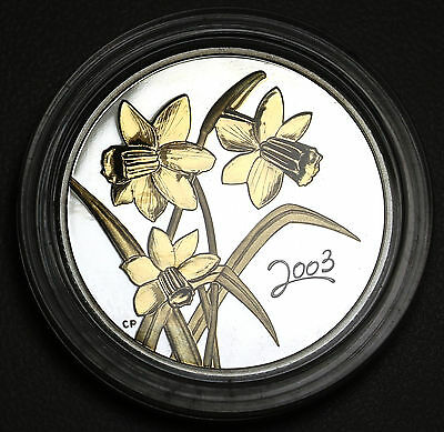 2003 Canada 50 Cents Golden Daffodil Sterling Silver Proof Coin