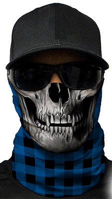 MOTORCYCLE FACE MASK - REDNECK SKULL BLUE - (Moto, Hunting, Fishing,