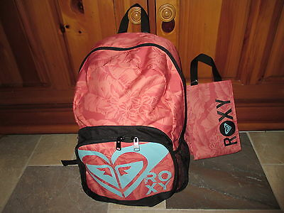 "NWT ROXY Girls ""Tropical Sherbet"" School Backpack Book Bag & Bonus Lunch Bag"