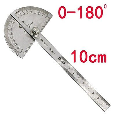 Economic Stainless Steel Rotary Round Head Protractor Angle Ruler Measuring Tool