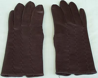 Early Ladies Vinyl Brown Gloves. Size 7 Small Size Made In Mauritius