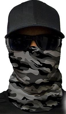 MOTORCYCLE FACE MASK - GREY MILITARY CAMO - (Moto, Hunting, Fishing, Paintball)
