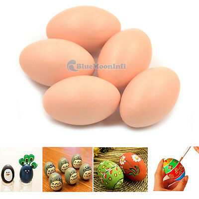 Wooden Unpainted Chicken Eggs Hen DIY Toy Easter Egg Craft Graffiti Decoration