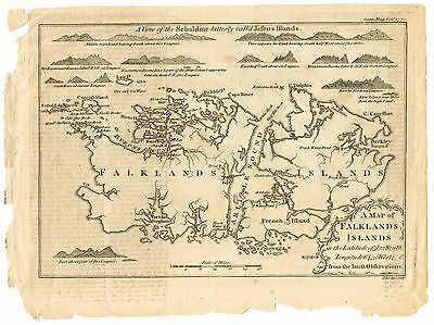Rare 18th Century - A Map of Falklands Islands From the Latest Observations 1770