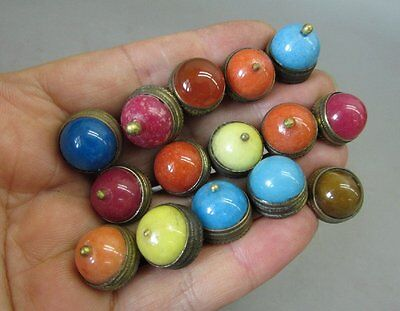 A Set Of (15) Chinese Snuff Bottle Tops & Spoons