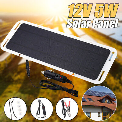 12V 5W Portable Solar Powered Panel Battery Backup Charger Car Boat Motorcycle