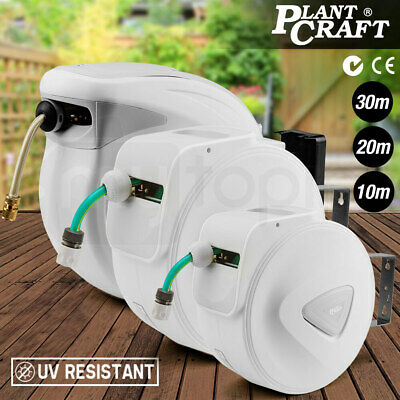 New PLANTCRAFT 30/20/10m Retractable Garden Hose Reel Rewind Water Wall Mount