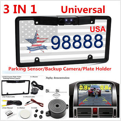 3IN1 Car Rearview HD Camera Parking Sensor Radar Kits For US License Plate Frame