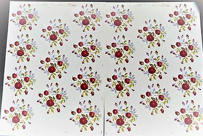 CERAMIC DECALS BY MATTHEY 2 SHEETS 11 9 cm X 9 cm ROUND ROSE POM RIGHT PRICE