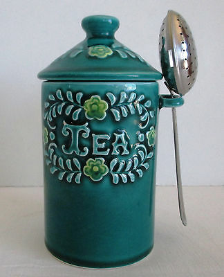 Vintage Davar Green Tea Canister with Infuser Spoon
