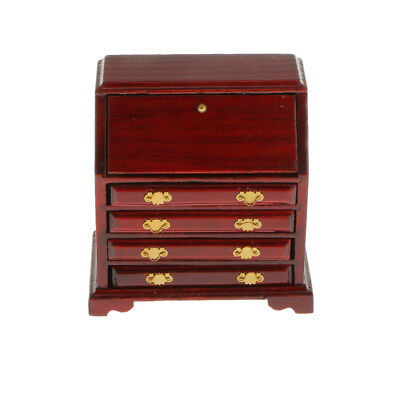 Wine Red Wood Cabinet Drawer Miniature Bedroom Oranament for 1/12 Dollhouse