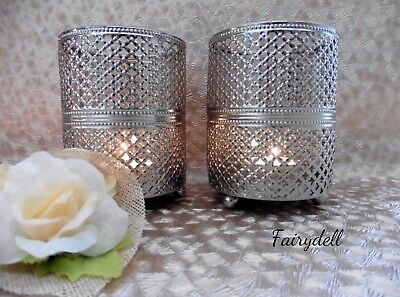 Set Of 2 Tall Silver Moroccan Style Glass & Metal Tea Light Candle Holders