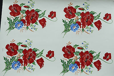CERAMIC DECALS POPPYFIELDS  4 19 cm X11 cmWIDE GREAT DECARATING VASES R/ PRICE