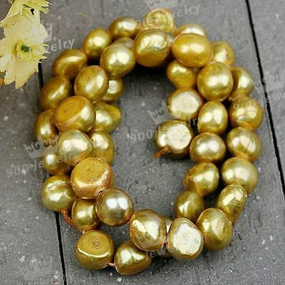 9-10Mm Cultured Freshwater Nugget Golden-3 Pearl Beads Jewellery Craft Diy