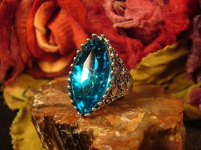 ~Beautiful Aquamarine Mystical Communication Vessel Ring & Spell Scroll~Other Si