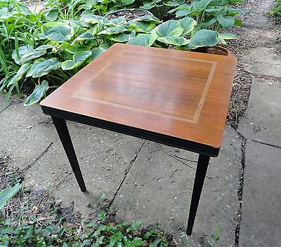 Antique Wooden Folding Card Table w/ Inlays and Push Button Closure
