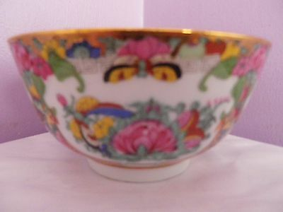 Vintage Chinese Rose Medallion Flowers & Butterflies & Birds Bowl11.5 Cms Dia