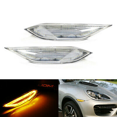Clear Lens Amber/White Switchback LED Side Marker Lamp For 11-14 Porsche Cayenne